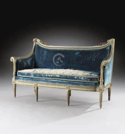 A Louis XVI carved grey-painted canapé, circa 1785, attributed to Georges Jacob