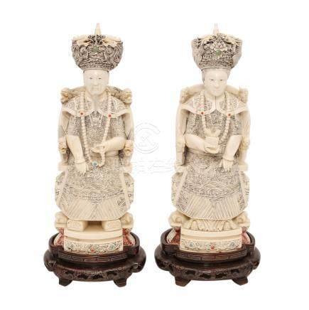 Kaiserpaar Elfenbein CHINA Anfang 20.Jh.Elfenbein aufwendig beschnitzt, graviert und partiell