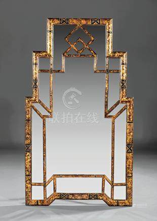 Chinese Chippendale-Style Gilt and Painted Mirror, geometric configuration of panels in antiqued