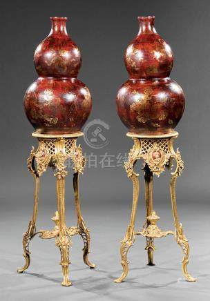 Pair of Chinese Gilt Decorated Brown Lacquer Double Gourd Vases on Gilt Metal Tripod Stands, vases