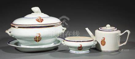 Group of Chinese Export Armorial Porcelain, Qianlong Period, c. 1785, decorated with the Arms of