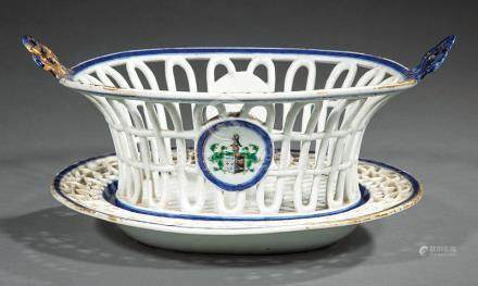 Chinese Export Armorial Porcelain Chestnut Basket and Underplate, Qing Dynasty (1644-1911),