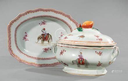 Chinese Export Famille Rose Porcelain Covered Soup Tureen and Underplate, Qianlong Period, 18th