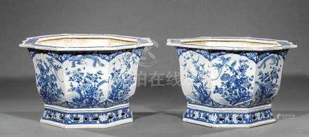 Pair of Chinese Blue and White Porcelain Octagonal Jardinieres, wide foliate rims with Buddhist