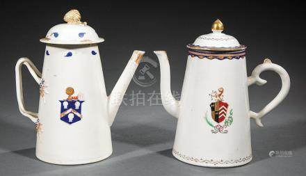 Two Chinese Export Armorial Porcelain Coffee Pots, Qianlong Period, c. 1785, one with Elinor