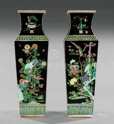"Pair of Chinese ""Famille Noire"" Porcelain Square Vases, decorated with birds and butterflies amid"