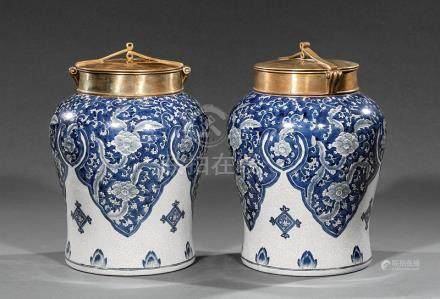 Decorative Pair of Chinese Bronze-Mounted Blue and White Porcelain Tea Jars, with blue floral