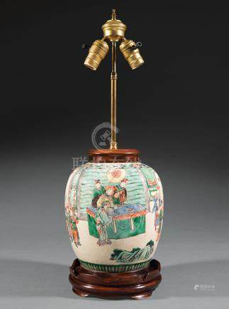 Chinese Famille Verte Porcelain Jar, probably 19th c., decorated with nobles in a fenced garden near