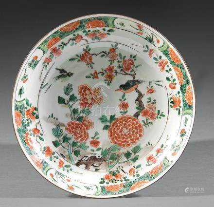 Chinese Famille Verte Porcelain Dish, Qing Dynasty, 18th/19th c., decorated with birds amid