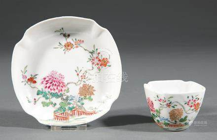 Chinese Famille Rose Porcelain Cup and Saucer, Qianlong Period, 18th c., decorated with peonies