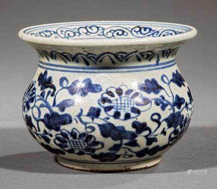 Antique Chinese Blue and White Porcelain Vessel, exterior decorated with flower scrolls, interior