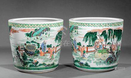 Pair of Chinese Famille Verte Porcelain Planters, decorated with figures in a continuous landscape