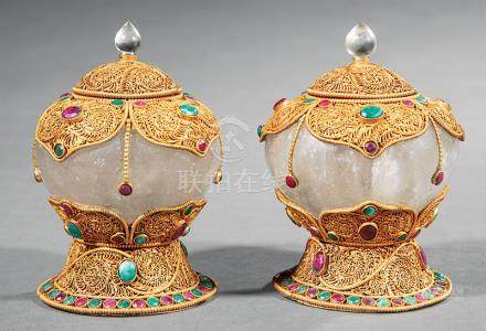 Pair of Tibetan or Nepalese Gem Embellished, Gilt Metal-Mounted Rock Crystal Covered Ritual Bowls,