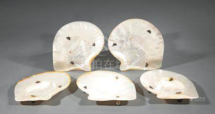 Set of Eight Chinese Sterling Silver-Mounted Mother-of-Pearl Dishes, Qing Dynasty, 19th c., shell-