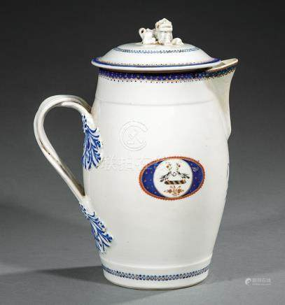 Chinese Export Armorial Porcelain Milk Jug, Qianlong Period, c. 1785, Buddhist lion finial, entwined