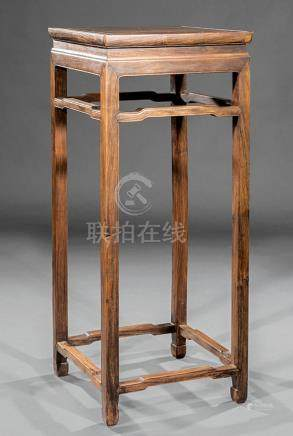 Chinese Hardwood Tall Stand, waisted inset square plank top with three grooved edges, shaped