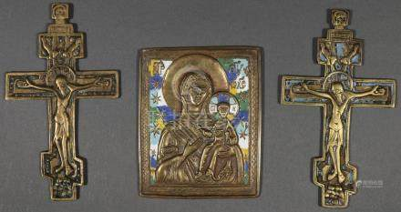RUSSIAN CAST BRASS ICONS, 18TH AND 19TH CENTURY