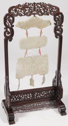 3 CHINESE CARVED JADE PLAQUES