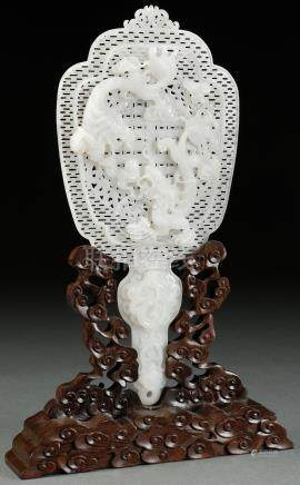 CHINESE CARVED WHITE JADE ORNAMENTAL FAN