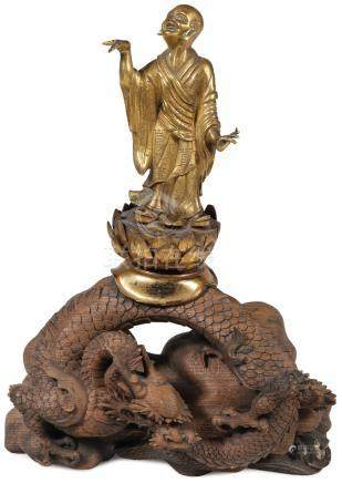 CHINESE GILT BRONZE FIGURE OF A LOHAN, QING