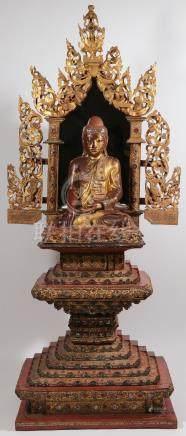 A LARGE GILT WOOD BURMESE BUDDHIST SHRINE