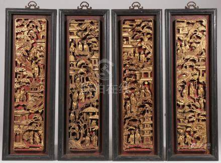 FOUR CHINESE CARVED GILT WOOD PANELS