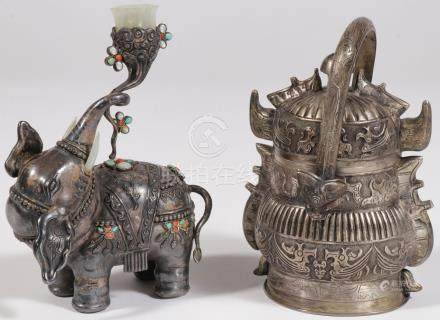 A PAIR OF CHINESE SILVER OBJECTS