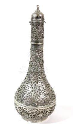 A Persian White Metal Mounted Glass Bottle and Stopper, late 19th century, of pear shape allover