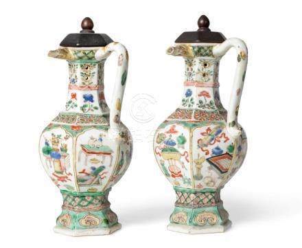 A Pair of Chinese Porcelain Puzzle Jugs, Kangxi, of hexagonal baluster form with pierced necks and