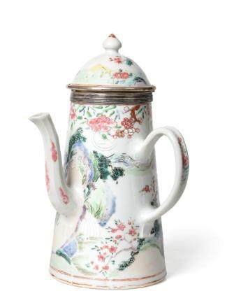 A White Metal Mounted Chinese Porcelain Coffee Pot and Cover, Yongzheng/early Qianlong, of conical