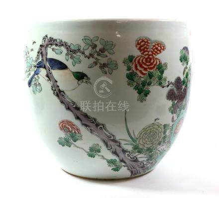 A Chinese Porcelain Jardinière, 19th century, painted in famille rose enamels with foliage amongst