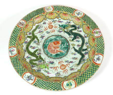 A Chinese Porcelain Dish, Kangxi reign mark but not of the period, painted in famille verte