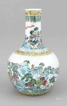 Vase, China, 20. Jh., bauchige Form mit gestrecktem Hals, umlaufendes Landschaftspanorama,