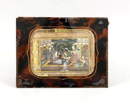 Miniaturmalerei, Indien, 19. Jh., Moghul-Schule, Seite aus einem Buch?, opake Wasserfarbenund Gold