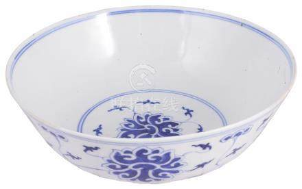 A CHINESE BLUE AND WHITE 'LOTUS' BOWL, GUANGXU MARK AND PERIOD (1875-1908) painted to the exterior