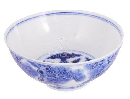 A CHINESE BLUE AND WHITE SMALL 'PHOENIX' DISH, GUANGXU MARK AND PERIOD (1875-1908) painted with