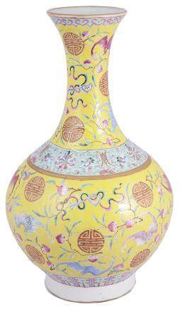 A LARGE CHINESE PORCELAIN BOTTLE VASE, LATE 19TH / 20TH CENTURY enamelled with bats amid branches of
