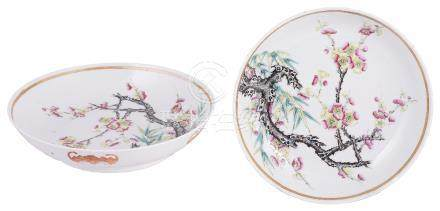 A PAIR OF CHINESE FAMILLE ROSE DISHES, GUANGXU MARK AND PERIOD (1875-1908) each painted with