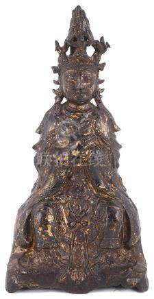 A CHINESE GILT AND LACQUERED BRONZE FIGURE OF GUANYIN, MING DYNASTY, DATED 1553 the goddess cast