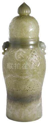 A CHINESE MUGHAL STYLE CELADON JADE 'DRAGON' VASE AND COVER the baluster body set at the shoulder
