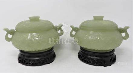 A PAIR OF CHINESE CELADON JADE CENSERS AND COVERS each compressed globular body rising from a
