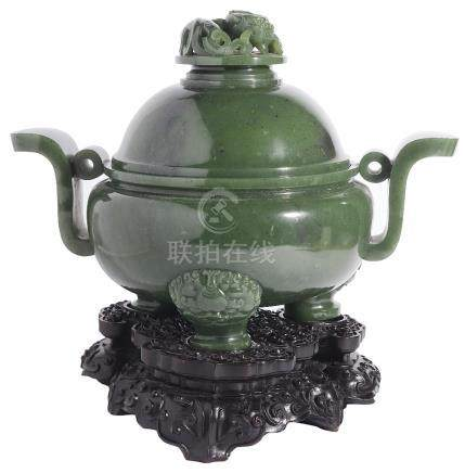A CHINESE SPINACH-GREEN JADE INCENSE BURNER AND COVER the compressed globular body rising from three