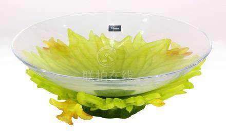 "Daum, France, pate de verre and clear glass ""Jonquille"" centerpiece, having a clear glass bowl,"
