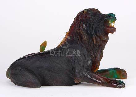 Daum France Pate De Verre African lion, depicted seated and roaring, signed on base Daum France,
