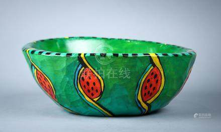 "T. Fitzgerald polychrome decorated wood carved ""watermelon"" centerpiece bowl, the tapered form"