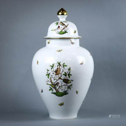 "Herend porcelain lidded urn, executed in the ""Rothschild"" pattern, having a partial gilt finial,"