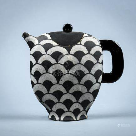 America studio pottery stoneware teapot, circa 2000, of compressed ovoid form with black patterned