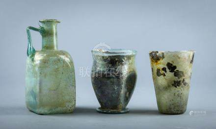 (lot of 3) Ancient Roman iridescent blown glass vessels group, 1st-6th century, of various forms,