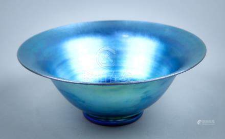 Steuben Blue Aurene footed bowl, early 20th century, having a splayed rim tapering to a footed base,