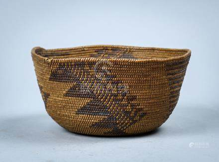 Antique Northern California coiled basket, 19th century, the tapering form with a continuous